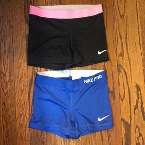 Bundle of Nike Pro shorts both sz. small